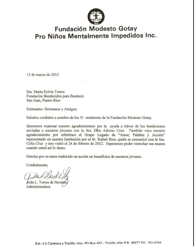 Fundacion Modesto Gotay carta 2012