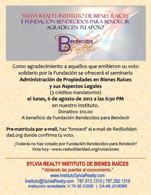 Seminario a beneficio de Fundacion Bendecidos para Bendecir