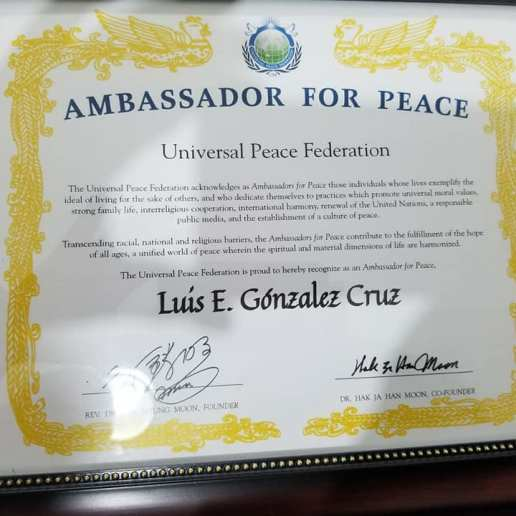 Universal Peace Federation reconocimiento 2018 Ambassador for Peace