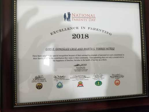 Universal Peace Federation reconocimiento 2018 Excellence in Parenting