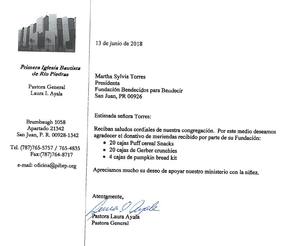 carta agradecimiento de Primera Iglesia Bautista Rio Piedras